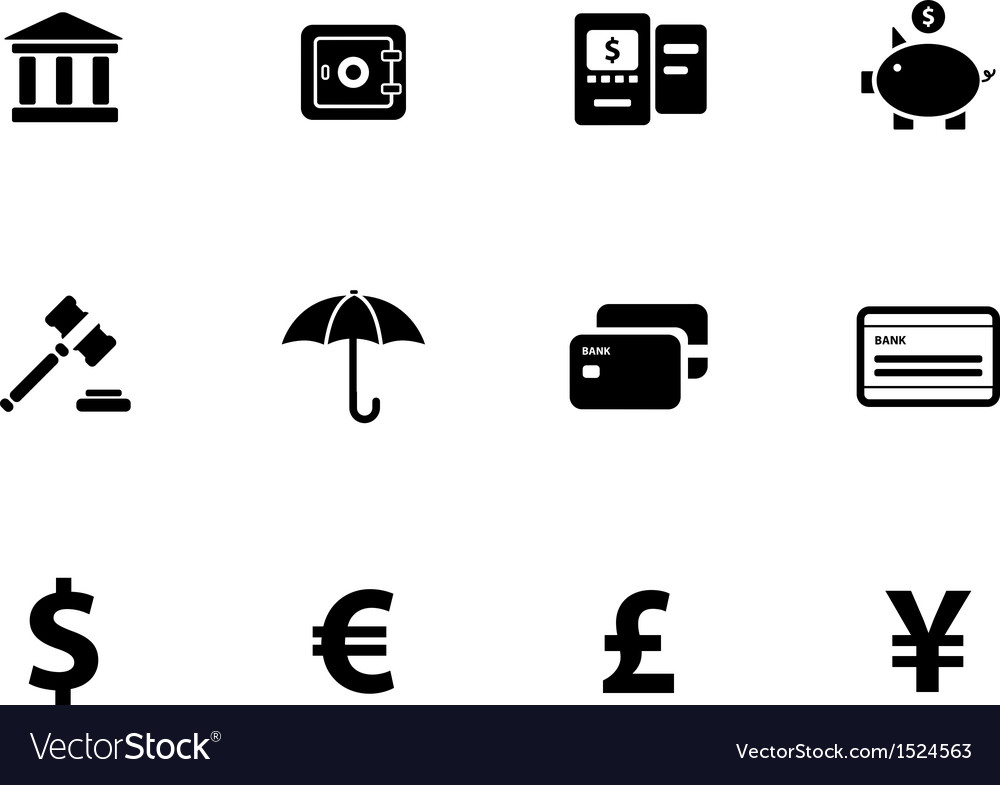 Banking icons on white background vector | Price: 1 Credit (USD $1)