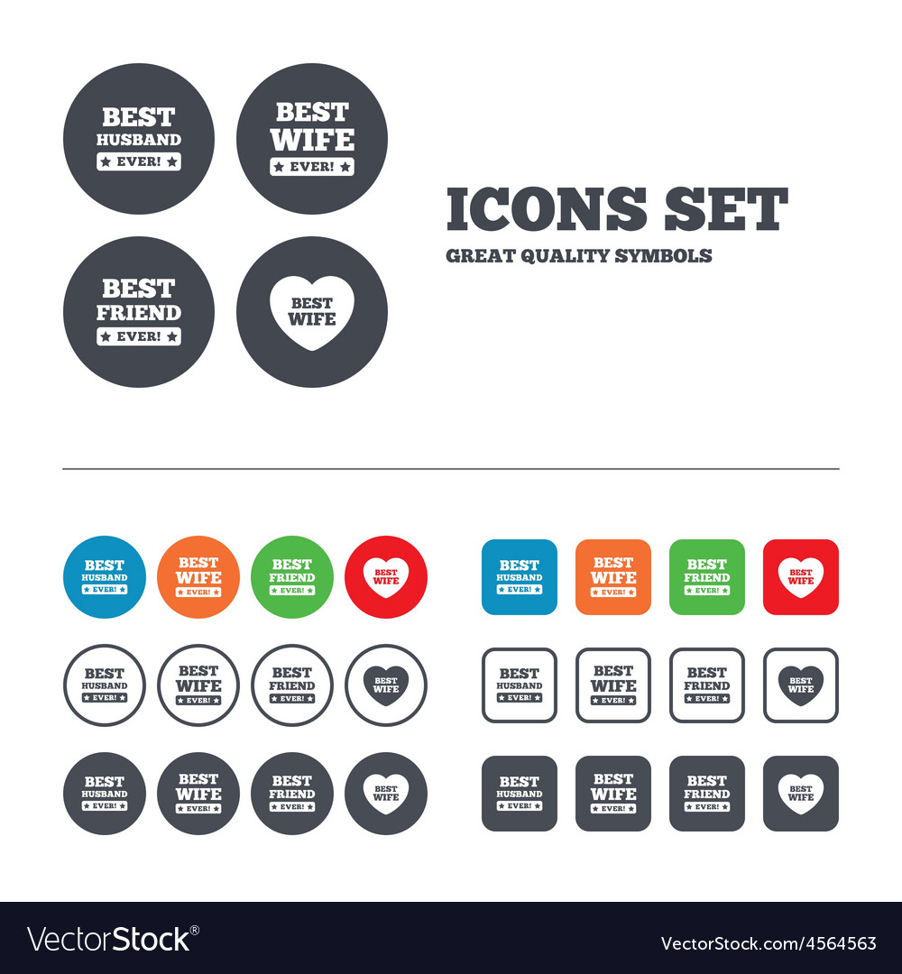 Best wife husband and friend icons vector | Price: 1 Credit (USD $1)