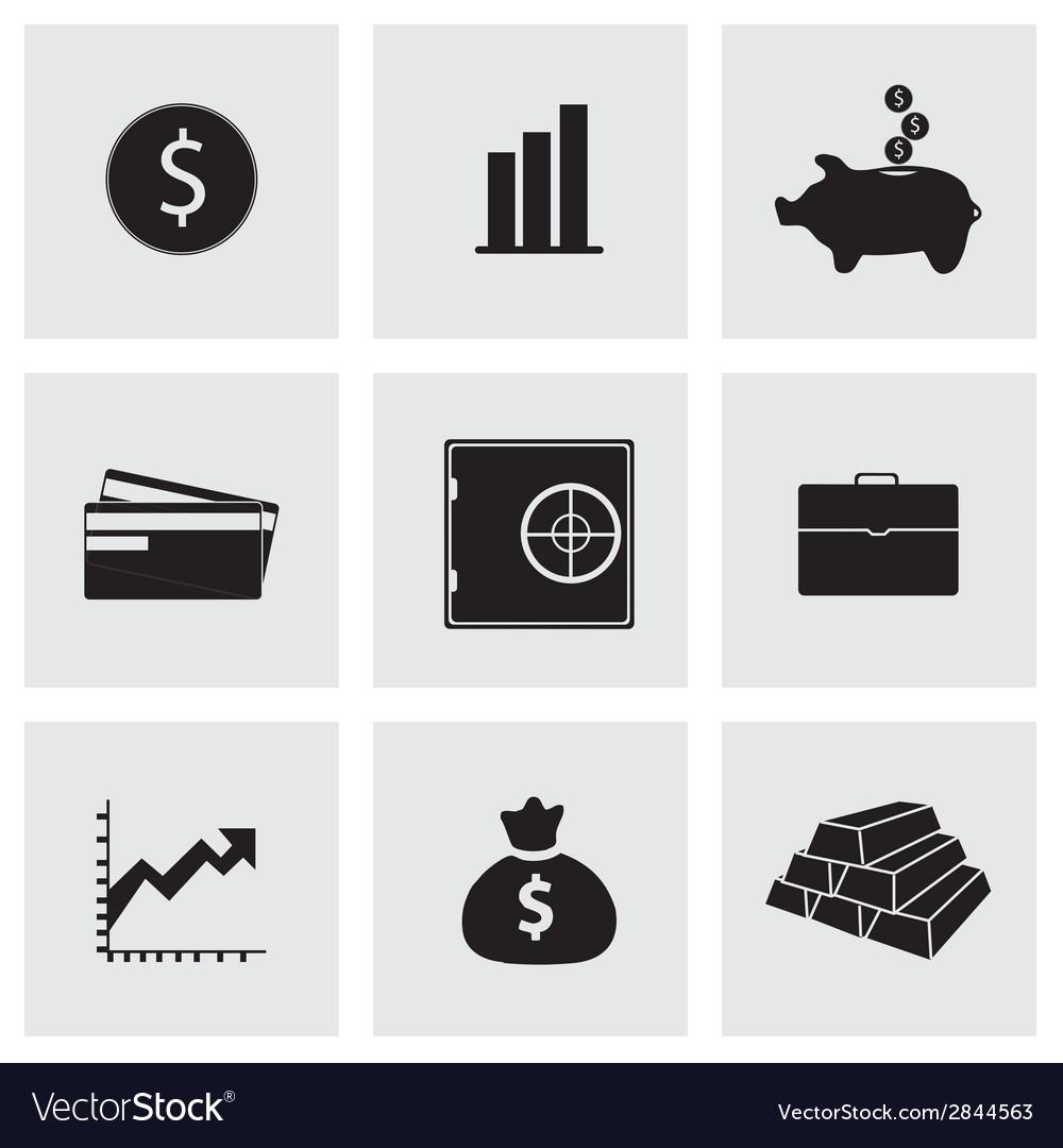 Black bank icons set vector | Price: 1 Credit (USD $1)