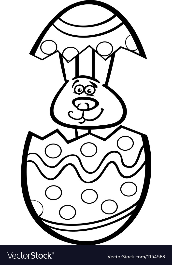 Bunny in easter egg cartoon for coloring vector | Price: 1 Credit (USD $1)