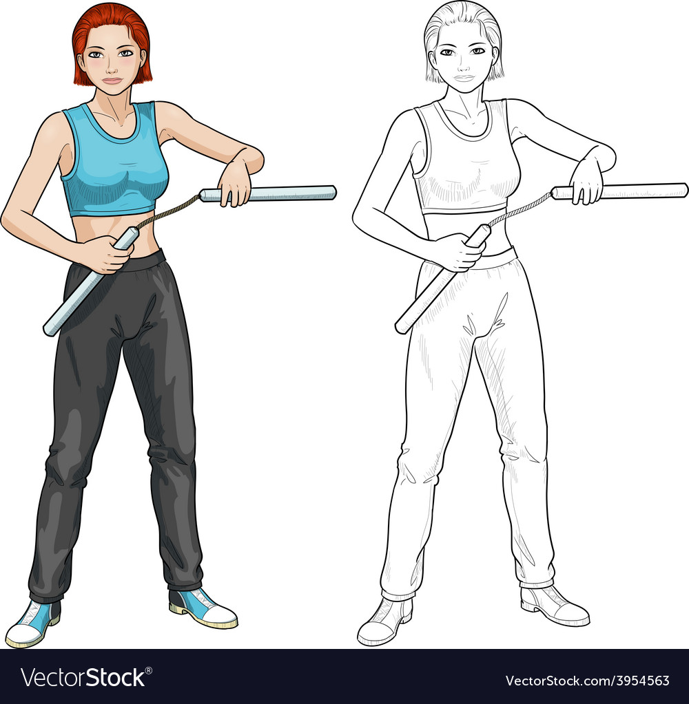 Caucasian nunchuck girl in sport uniform vector | Price: 1 Credit (USD $1)