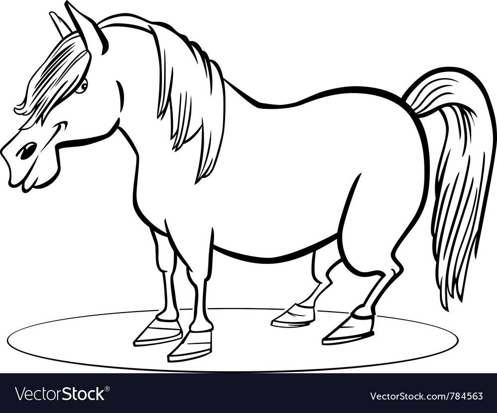Coloring page of funny farm pony horse vector | Price: 1 Credit (USD $1)