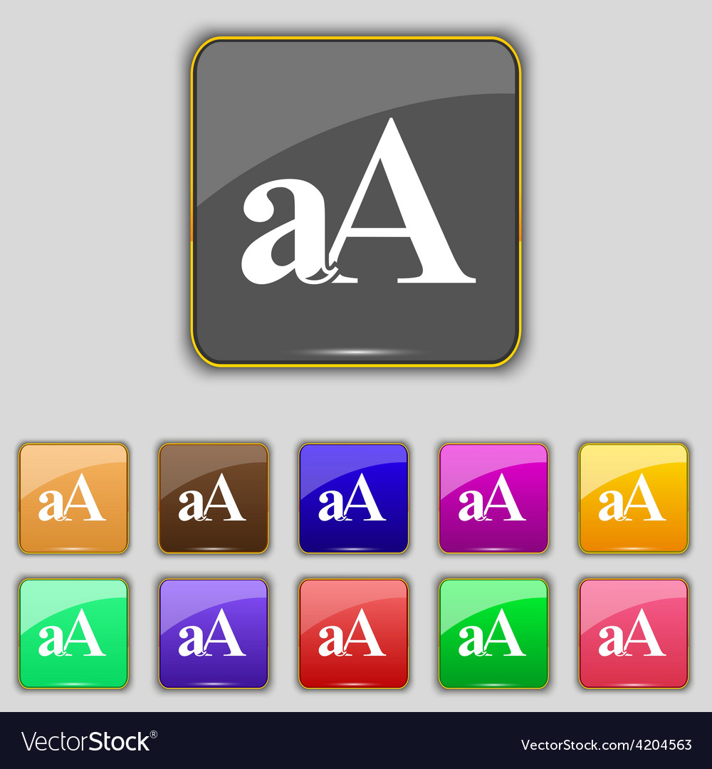 Enlarge font aa icon sign set with eleven colored vector | Price: 1 Credit (USD $1)