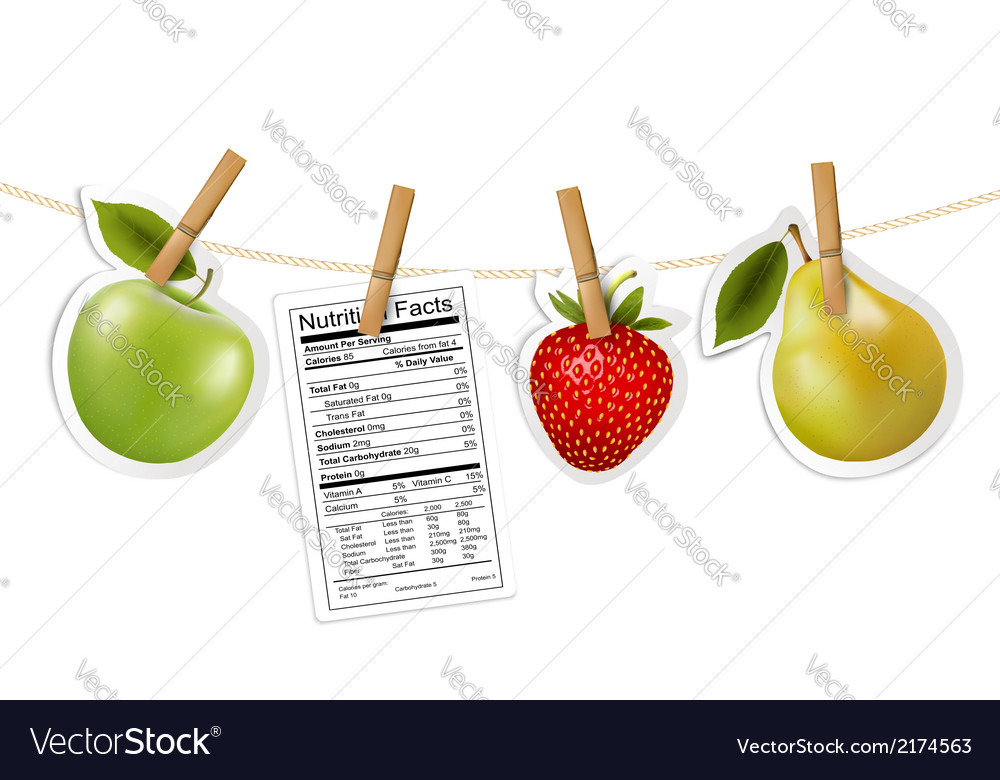 Fruit stickers and a nutrition label hanging on a vector | Price: 1 Credit (USD $1)