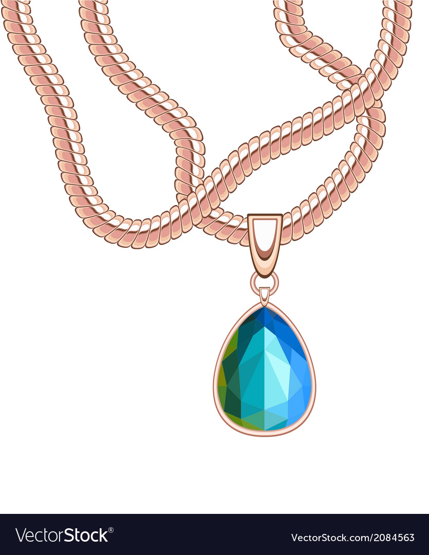 Golden necklace with blue sapphire vector | Price: 1 Credit (USD $1)