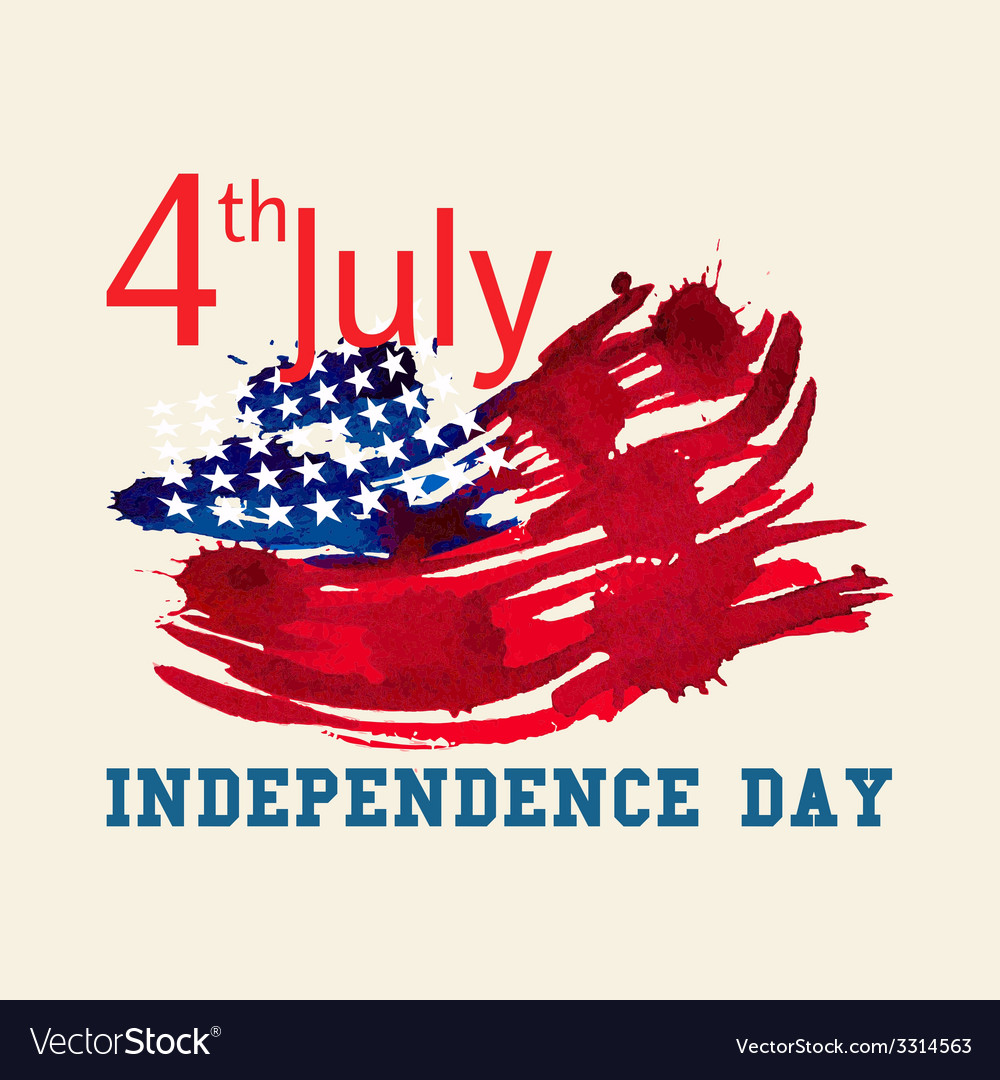 Greeting card with us flag independence day of vector | Price: 1 Credit (USD $1)
