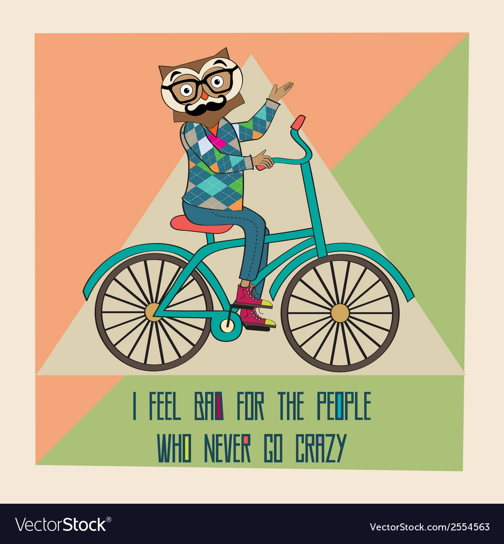 Hipster poster with nerd owl riding bike vector | Price: 1 Credit (USD $1)