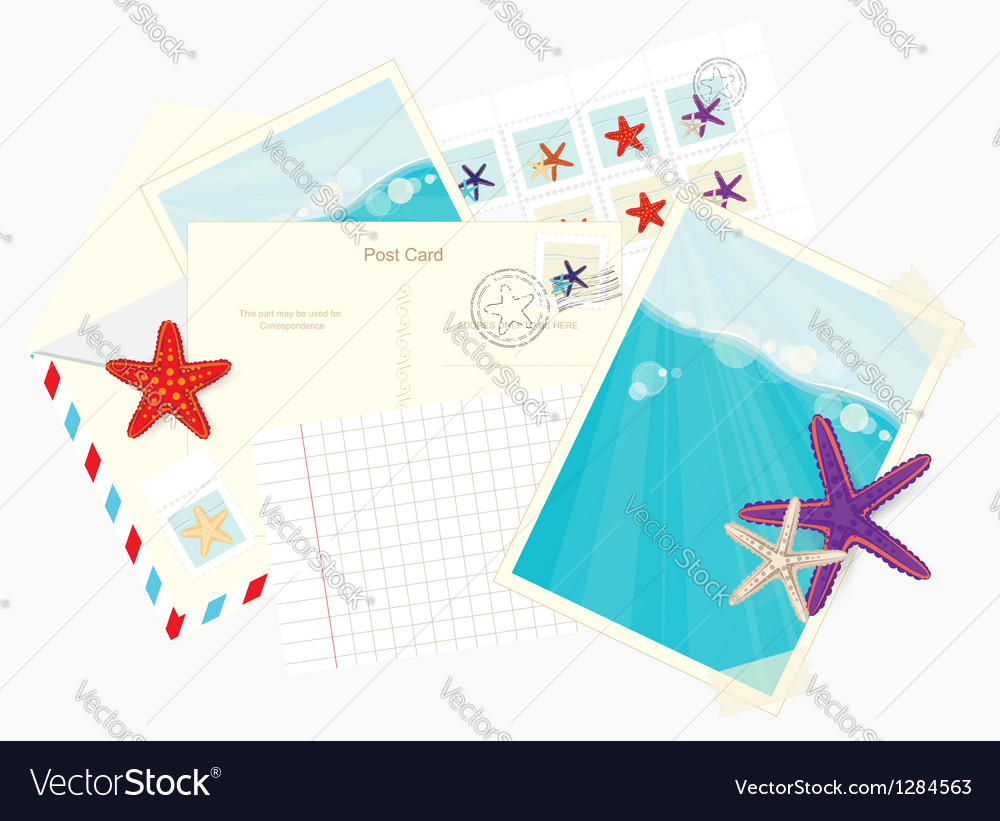 Photos postcards envelopes and starfish stickers vector | Price: 1 Credit (USD $1)