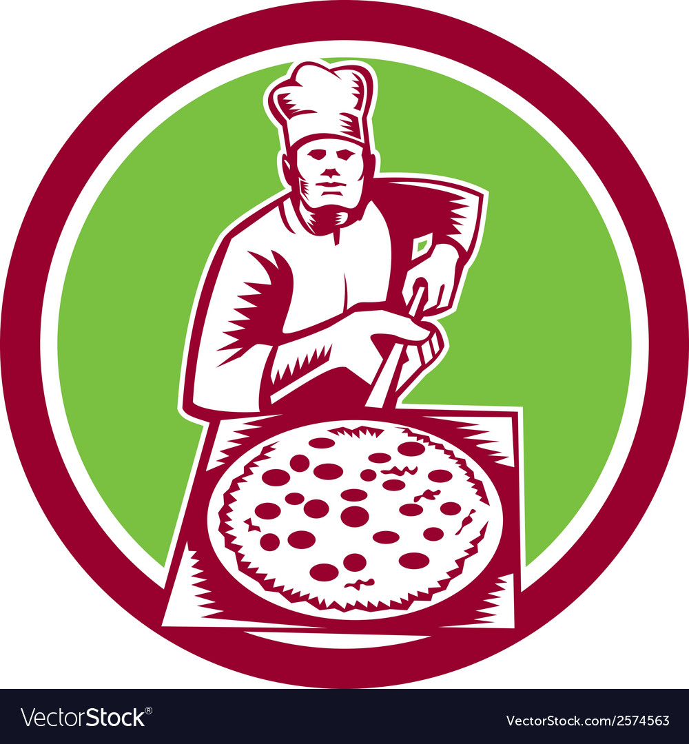 Pizza maker holding pizza peel circle woodcut vector | Price: 1 Credit (USD $1)