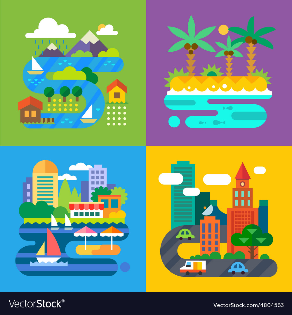 Summer landscapes vector