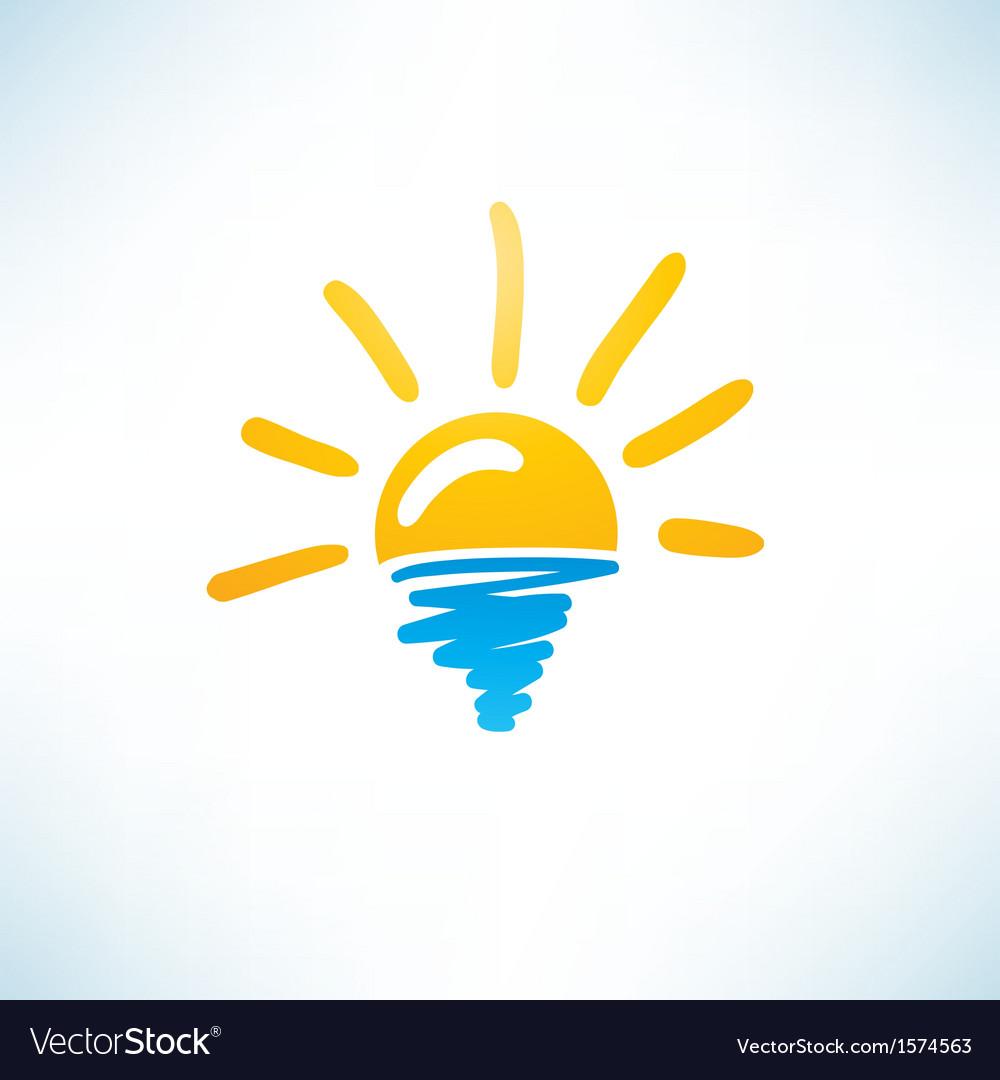 Sun and sea icon vector | Price: 1 Credit (USD $1)