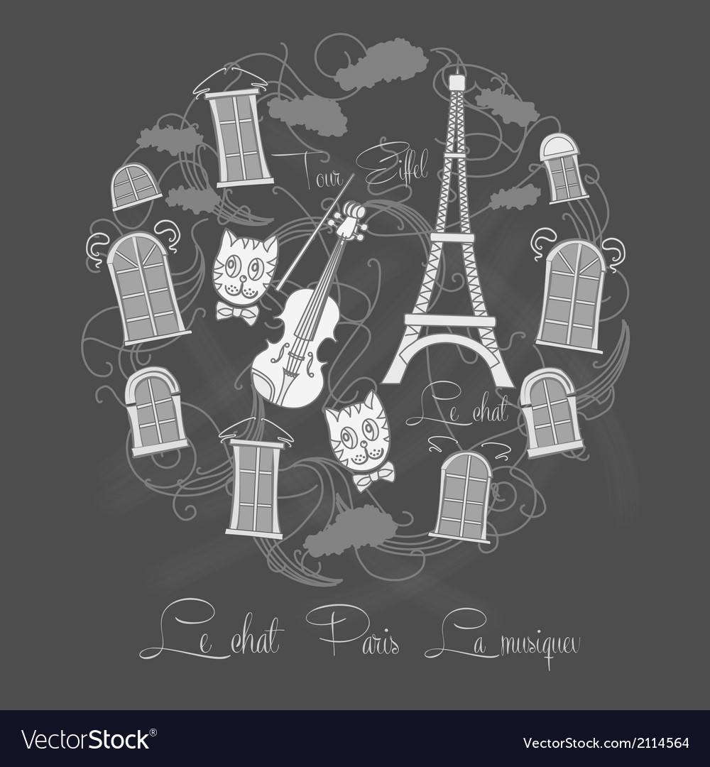 Background with tour eiffel on chalkrboard vector | Price: 1 Credit (USD $1)