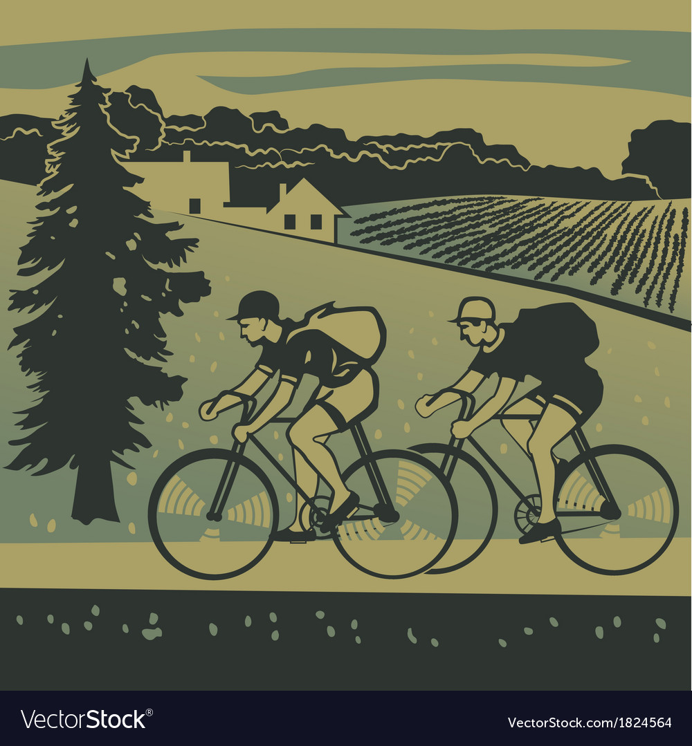 Bicyclists traveling around the country vector | Price: 1 Credit (USD $1)