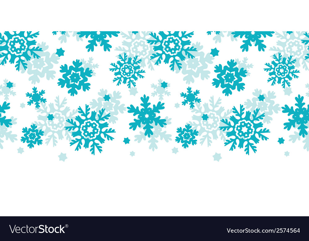 Blue frost snowflakes horizontal seamless pattern vector | Price: 1 Credit (USD $1)