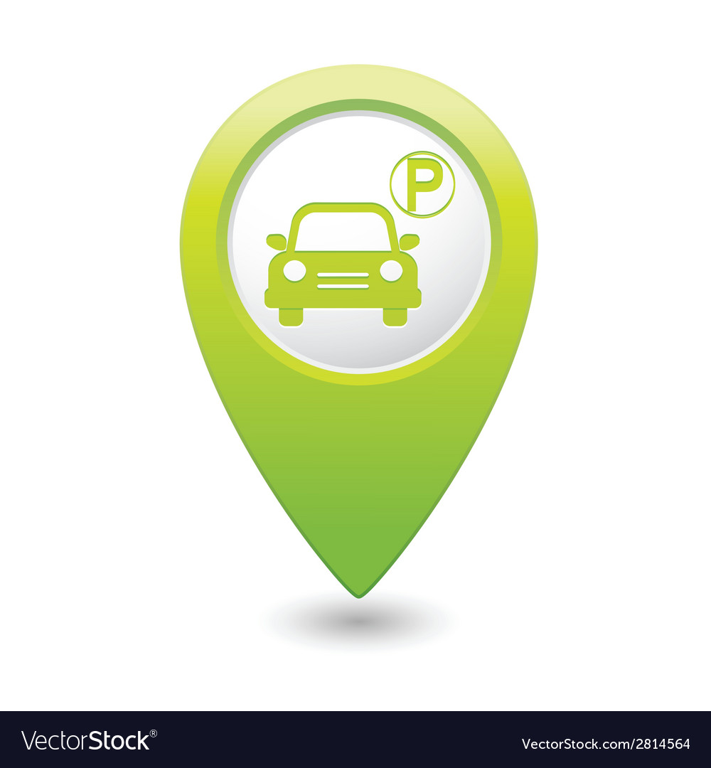 Car parking icon on green pointer vector | Price: 1 Credit (USD $1)