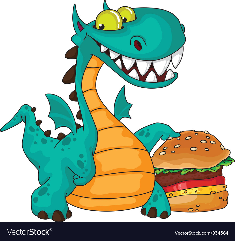 Great dragon and burger vector | Price: 3 Credit (USD $3)