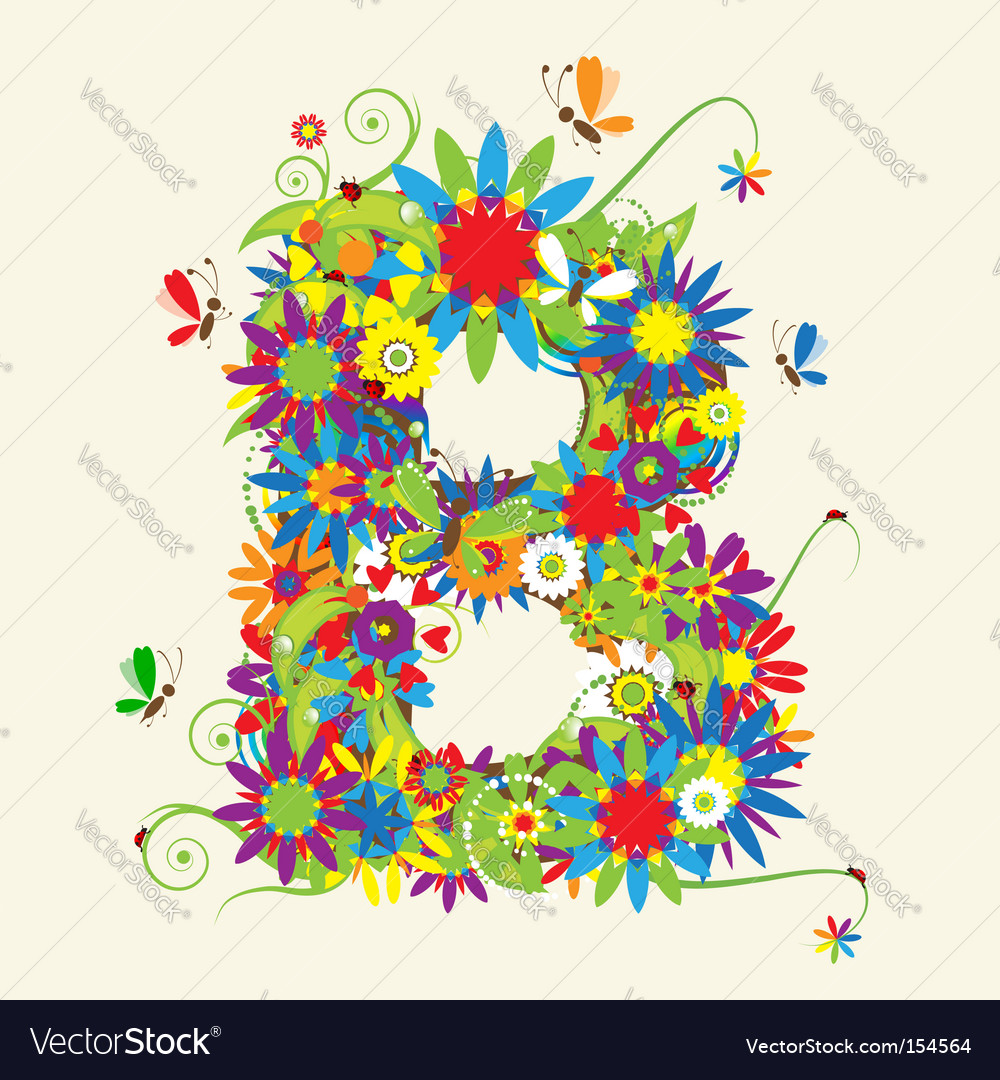 Letter b floral design vector | Price: 1 Credit (USD $1)