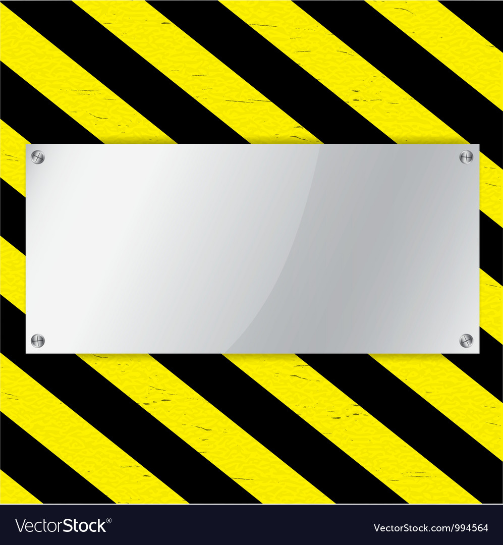Metal frame on warning stripe background vector | Price: 1 Credit (USD $1)
