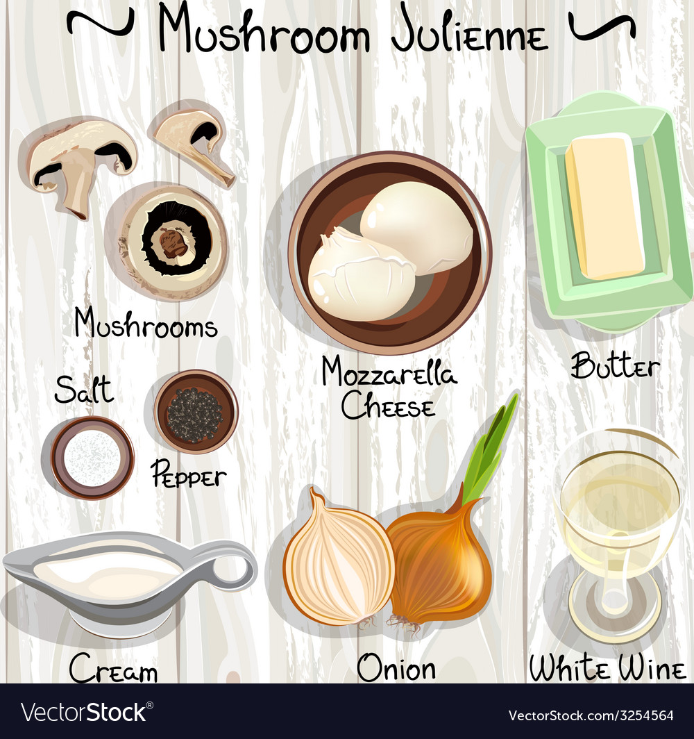 Mushroom julienne vector | Price: 1 Credit (USD $1)