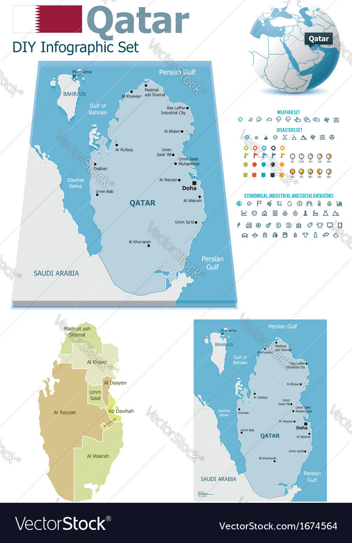 Qatar maps with markers vector | Price: 1 Credit (USD $1)