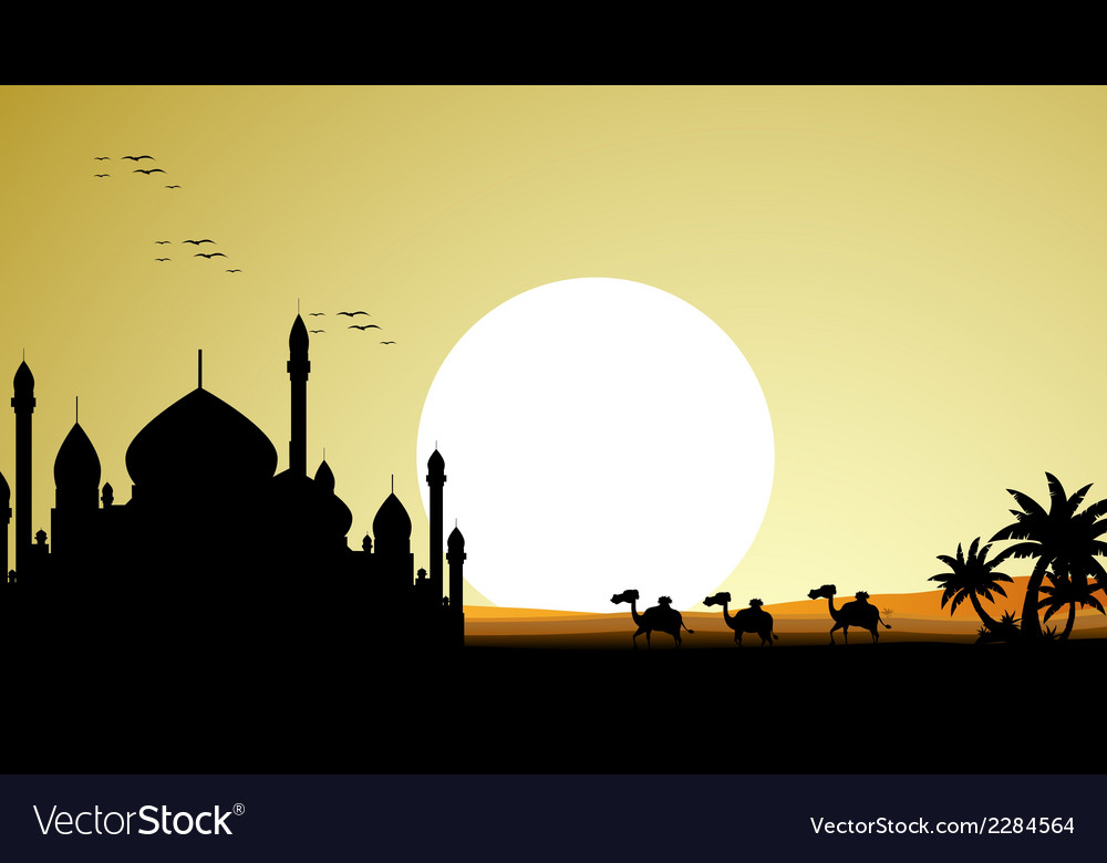 Ramadan kareem background with mosque and camel tr vector | Price: 1 Credit (USD $1)