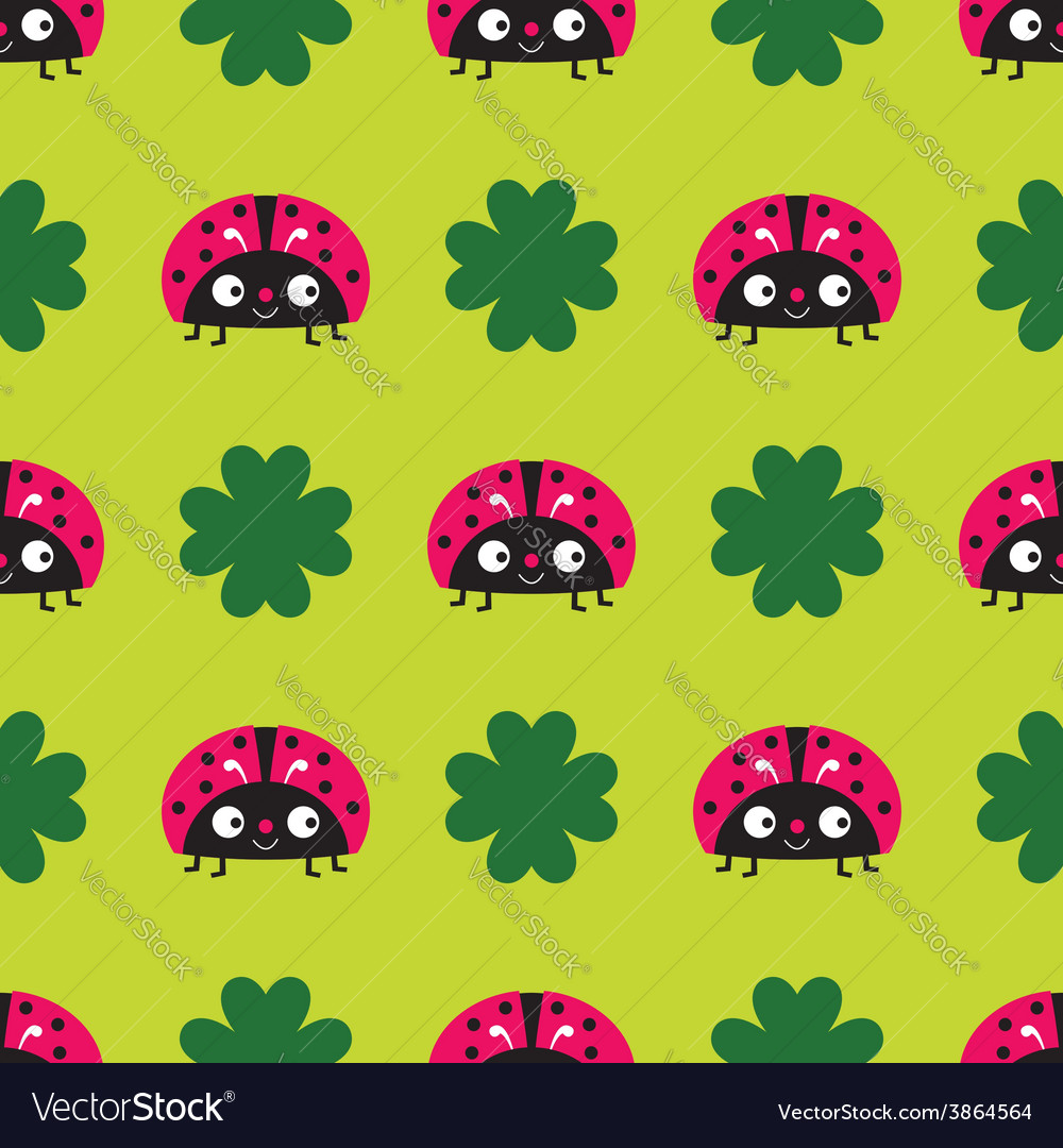Seamless ladybugs pattern vector | Price: 1 Credit (USD $1)