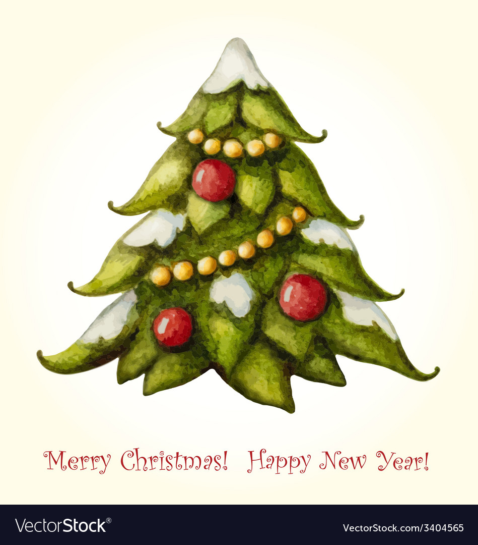Christmas watercolor greeting card with christmas vector | Price: 1 Credit (USD $1)