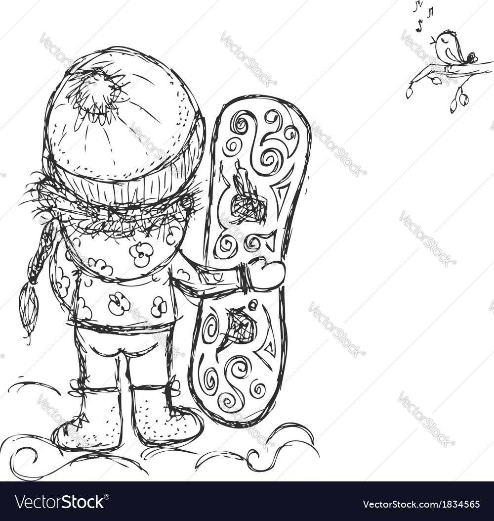Cute girl with snowboard sketch for your design vector | Price: 1 Credit (USD $1)