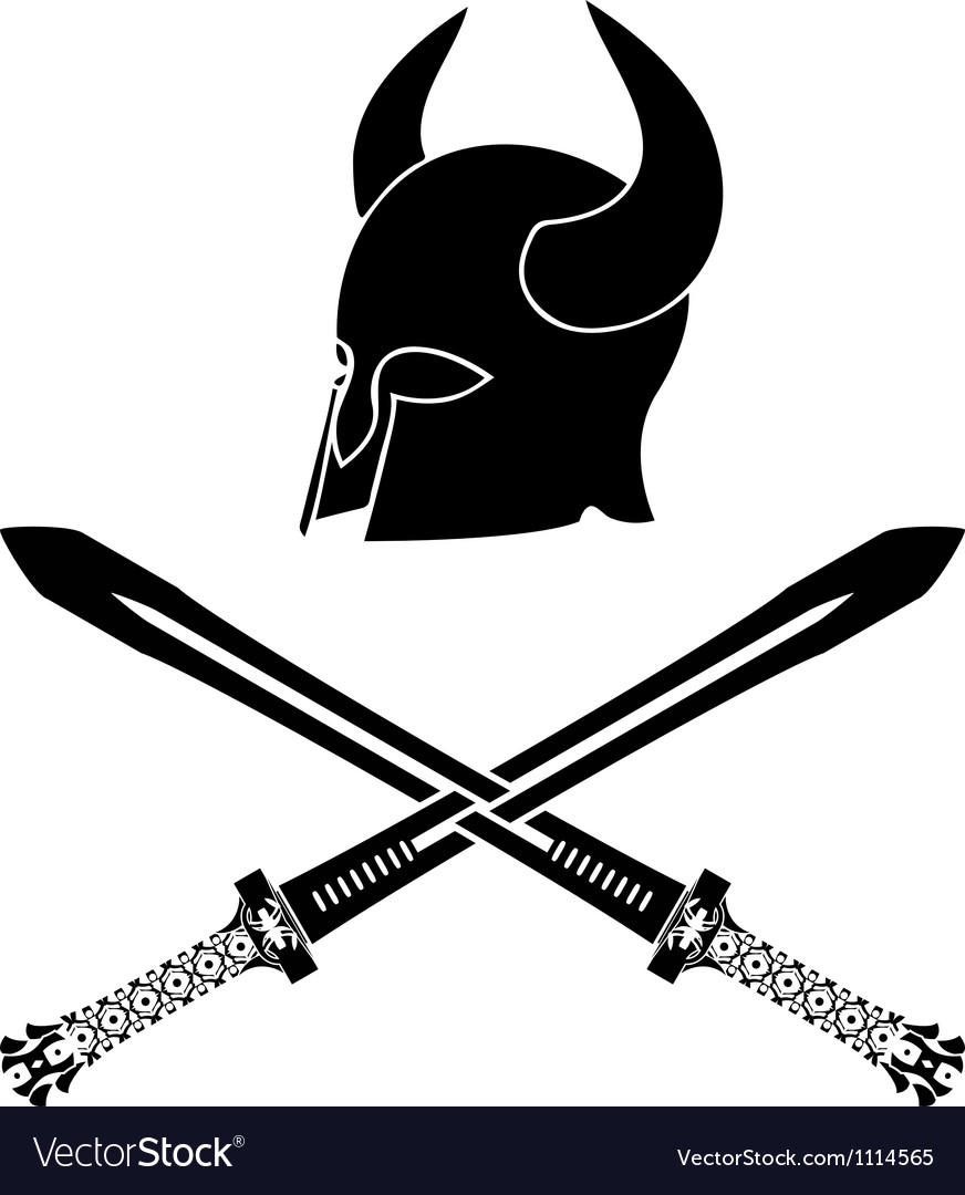 Fantasy barbarian helmet with swords stencil vector | Price: 1 Credit (USD $1)