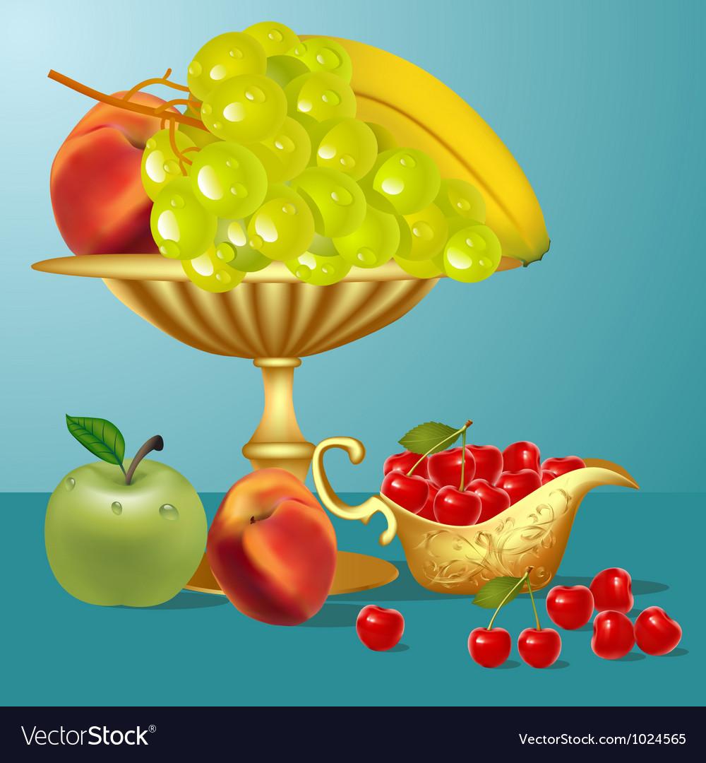 Fruits still life vector | Price: 1 Credit (USD $1)