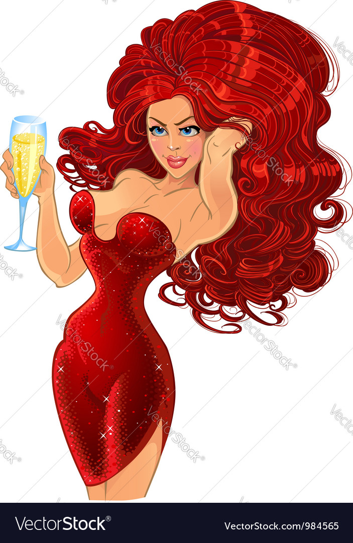 Girl in red with champagne vector | Price: 3 Credit (USD $3)