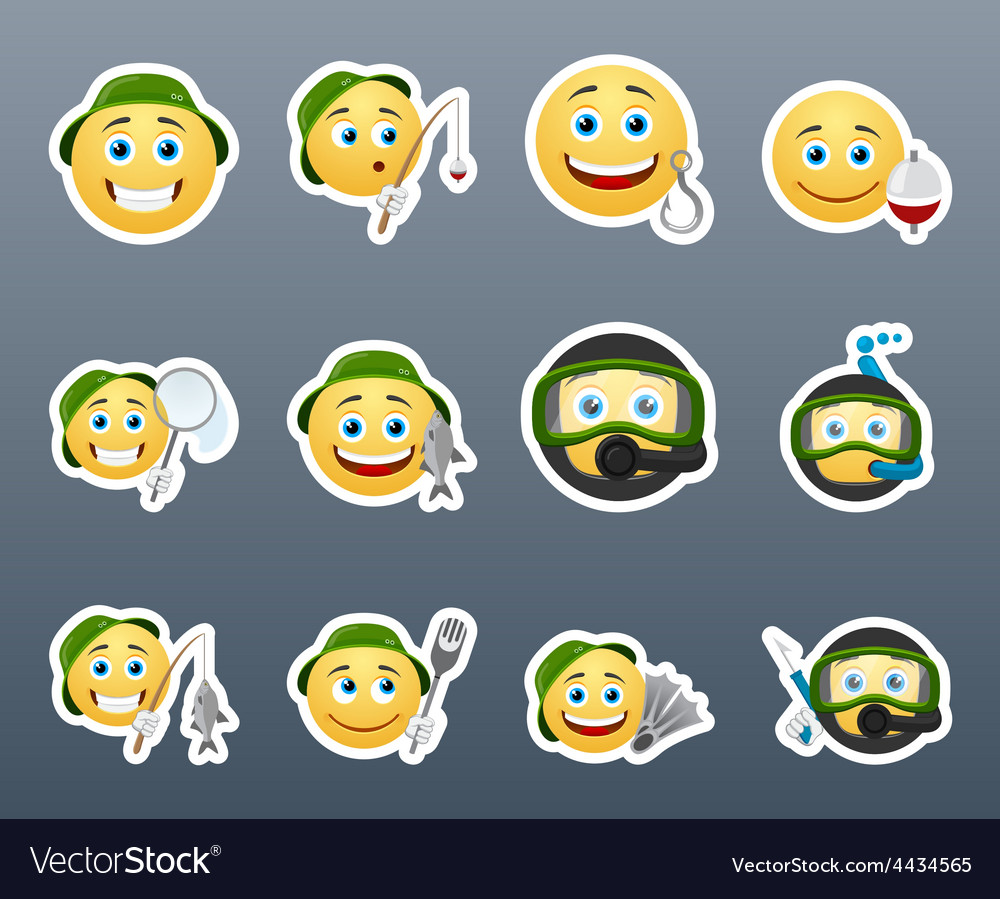 Hike smiles on fishing vector | Price: 1 Credit (USD $1)