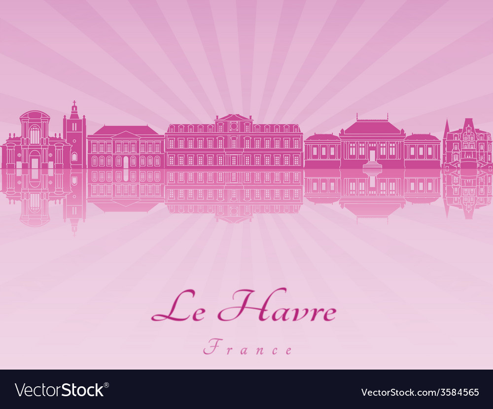 Le havre skyline in purple radiant orchid vector | Price: 1 Credit (USD $1)