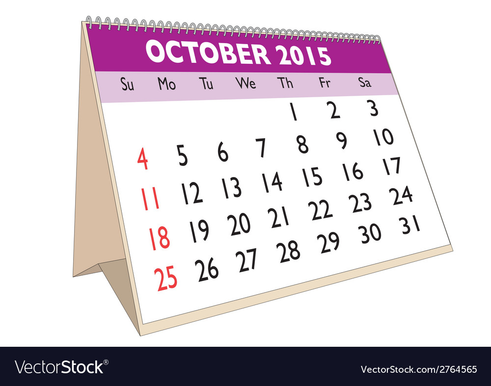 October 2015 vector | Price: 1 Credit (USD $1)