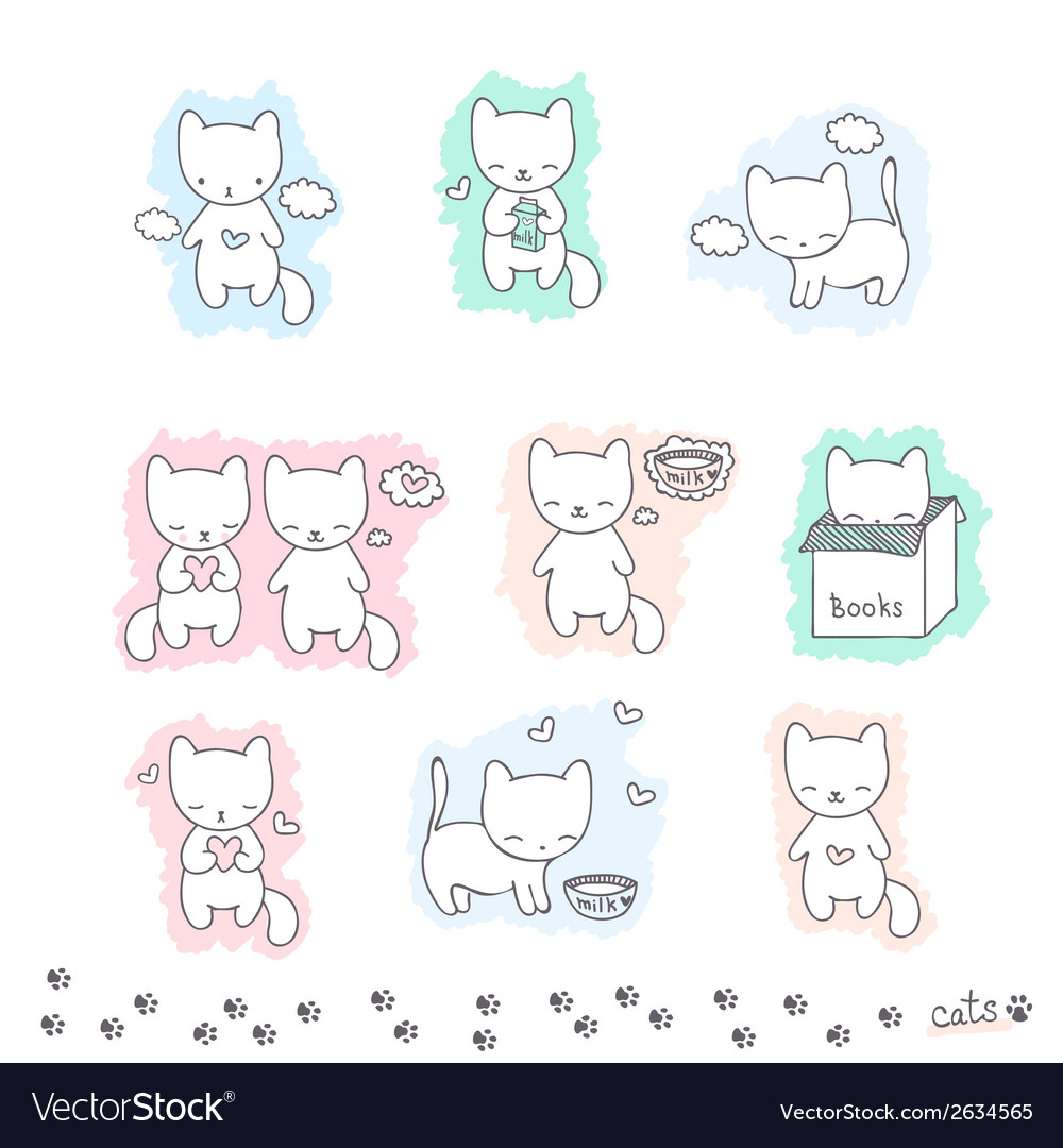 Set of sketch with cats vector | Price: 1 Credit (USD $1)