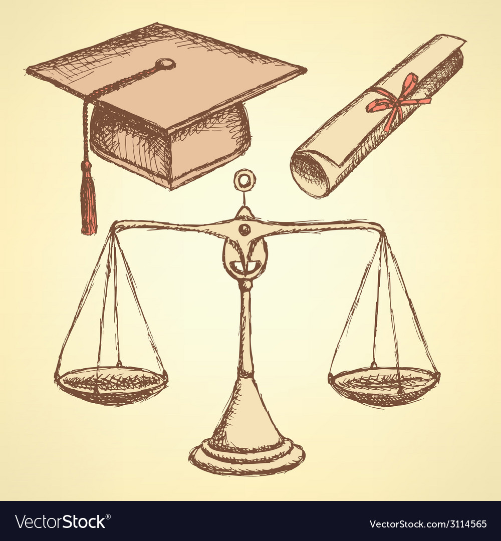 Sketch jurisdiction education set vector | Price: 1 Credit (USD $1)
