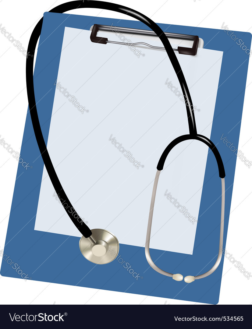 Stethoscope and blank clipboar vector | Price: 3 Credit (USD $3)
