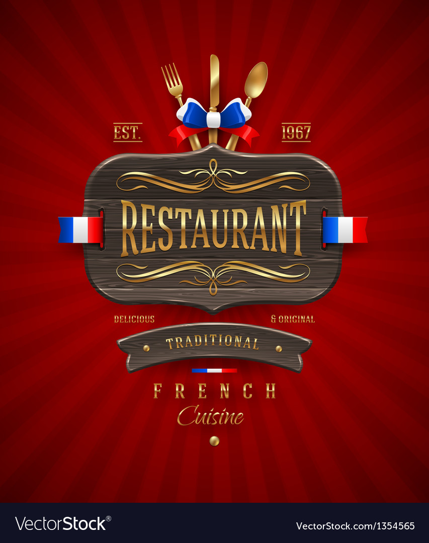 Vintage wooden sign for french restaurant vector | Price: 1 Credit (USD $1)