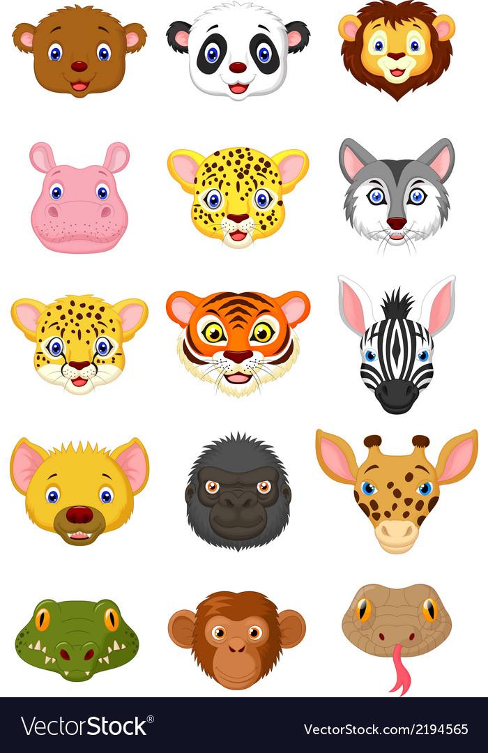 Wild animal head cartoon vector   Price: 1 Credit (USD $1)