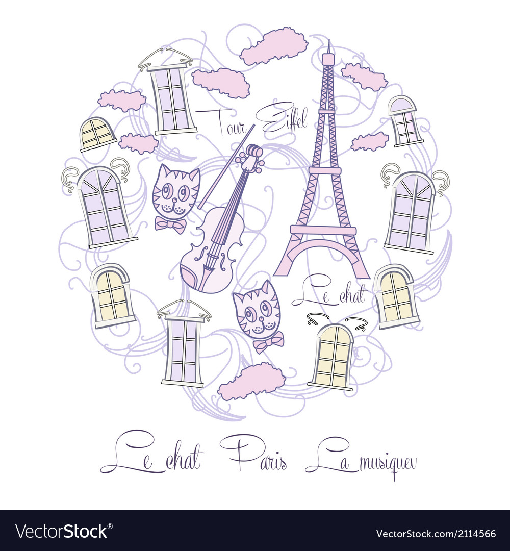 Background with music and tour eiffel vector | Price: 1 Credit (USD $1)