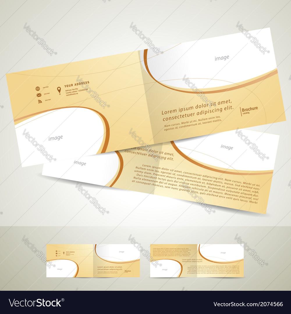 Brochure design template booklet biege curve line vector | Price: 1 Credit (USD $1)