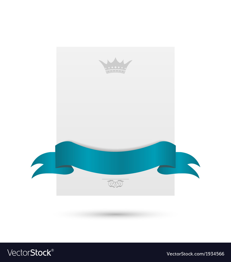 Celebration card with blue ribbon and crown vector | Price: 1 Credit (USD $1)