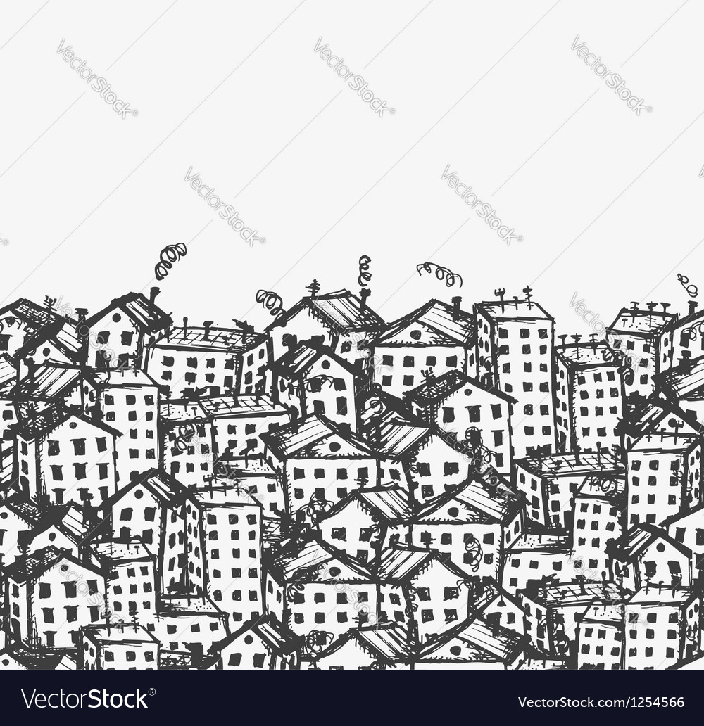 City sketch seamless background for your design vector | Price: 1 Credit (USD $1)