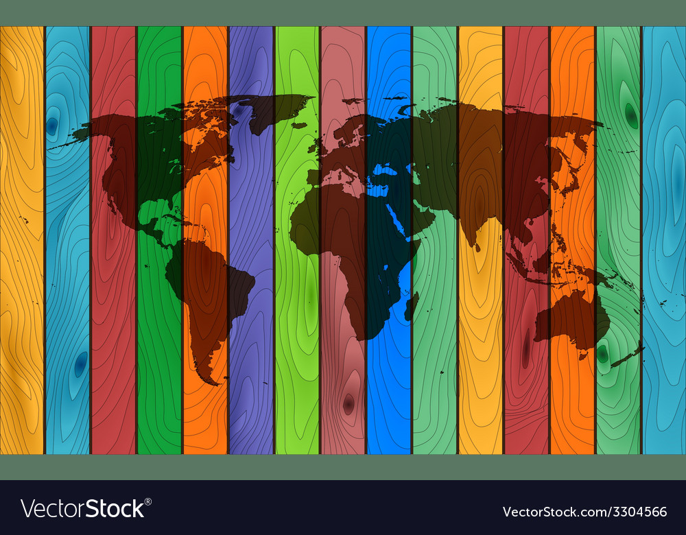 Color wood map vector | Price: 1 Credit (USD $1)