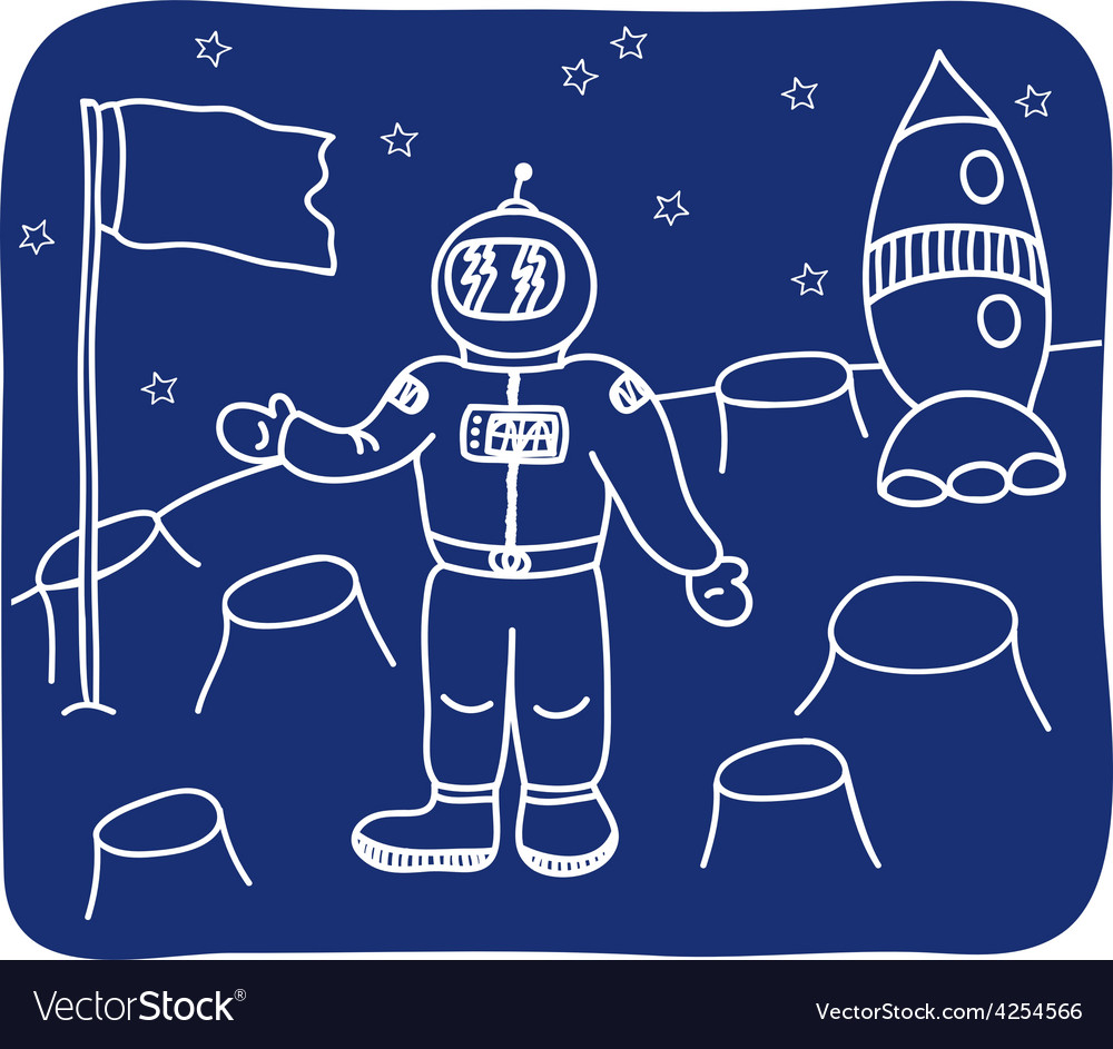 Drawing of an astronaut on the planet vector | Price: 1 Credit (USD $1)