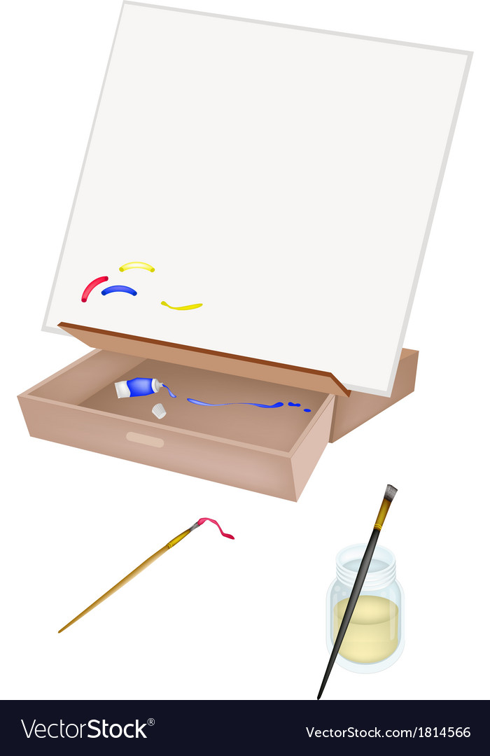 Easel with artist brushes and paint tubes vector | Price: 1 Credit (USD $1)