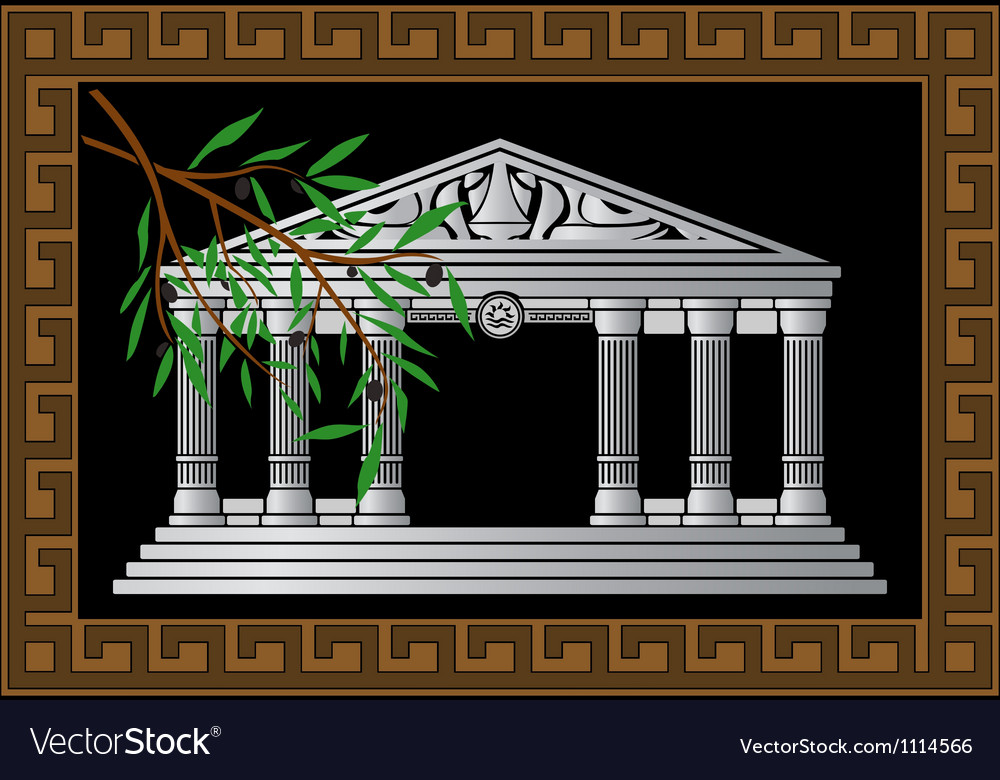 Fantasy hellenic temple and olive branch vector | Price: 1 Credit (USD $1)