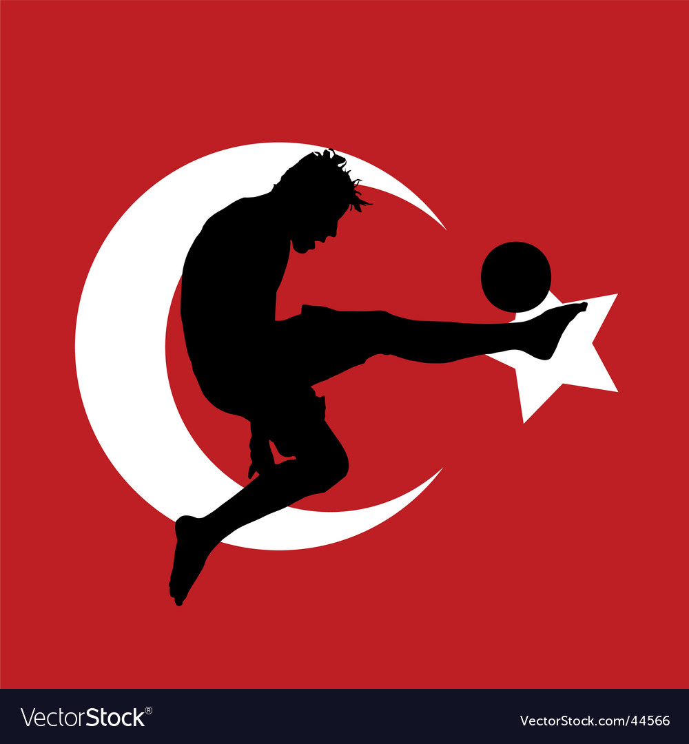 Football player with turkish flag vector | Price: 1 Credit (USD $1)