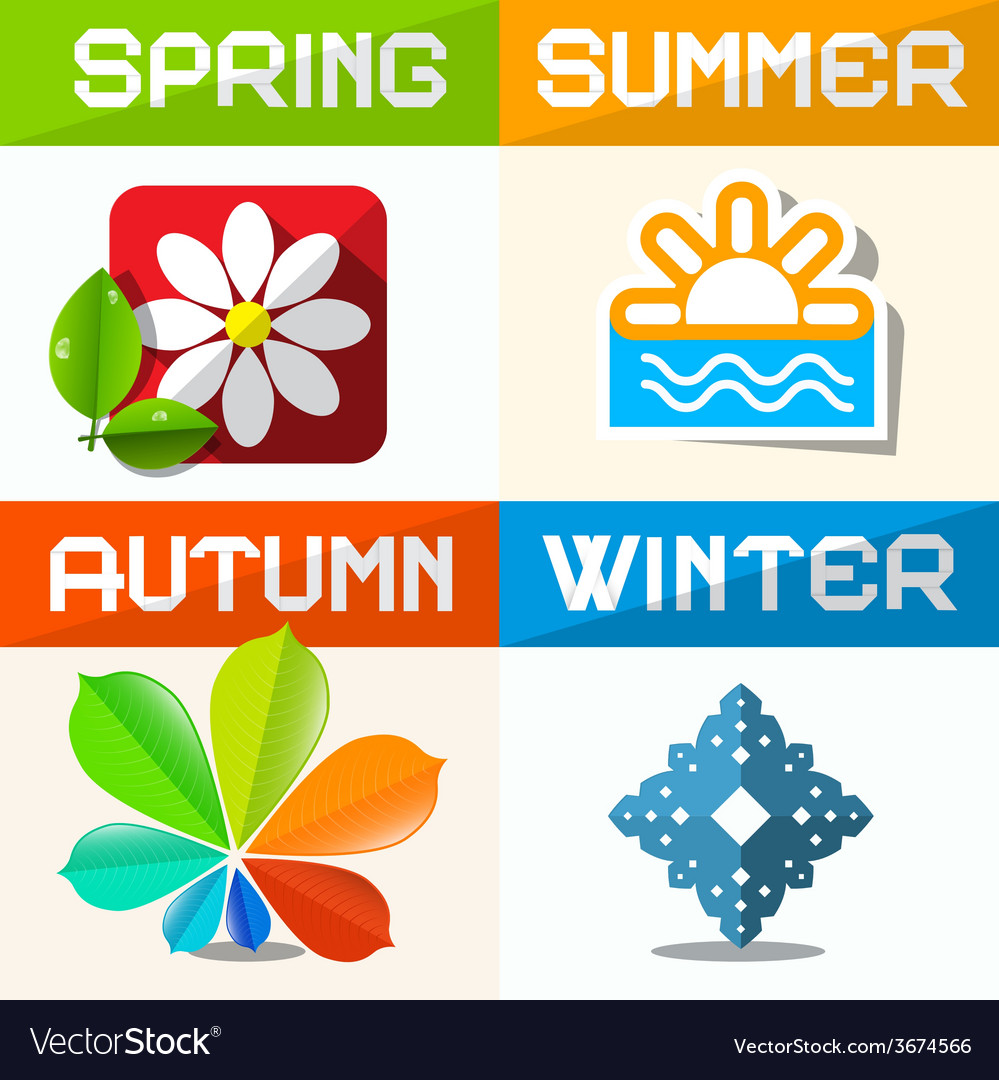 Four seasons paper symbols vector | Price: 1 Credit (USD $1)