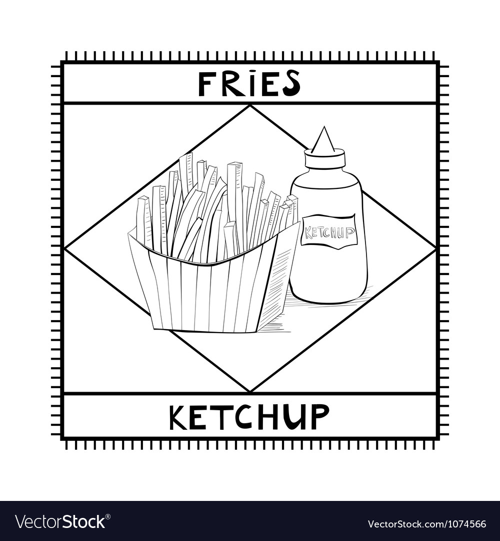 Fries and ketchup vector | Price: 1 Credit (USD $1)